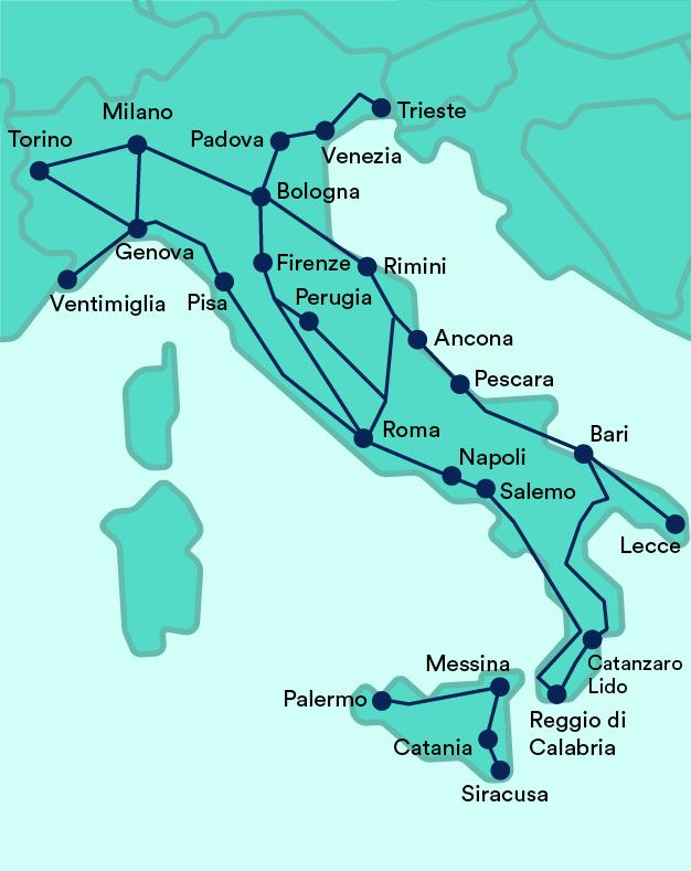 mappa treni intercity trenitalia