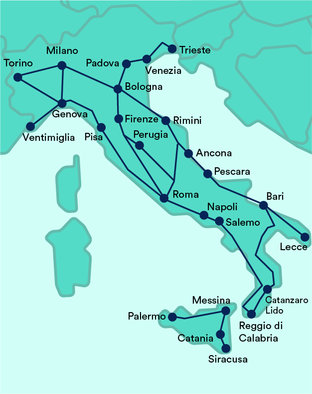 Intercity Trains In Italy Map