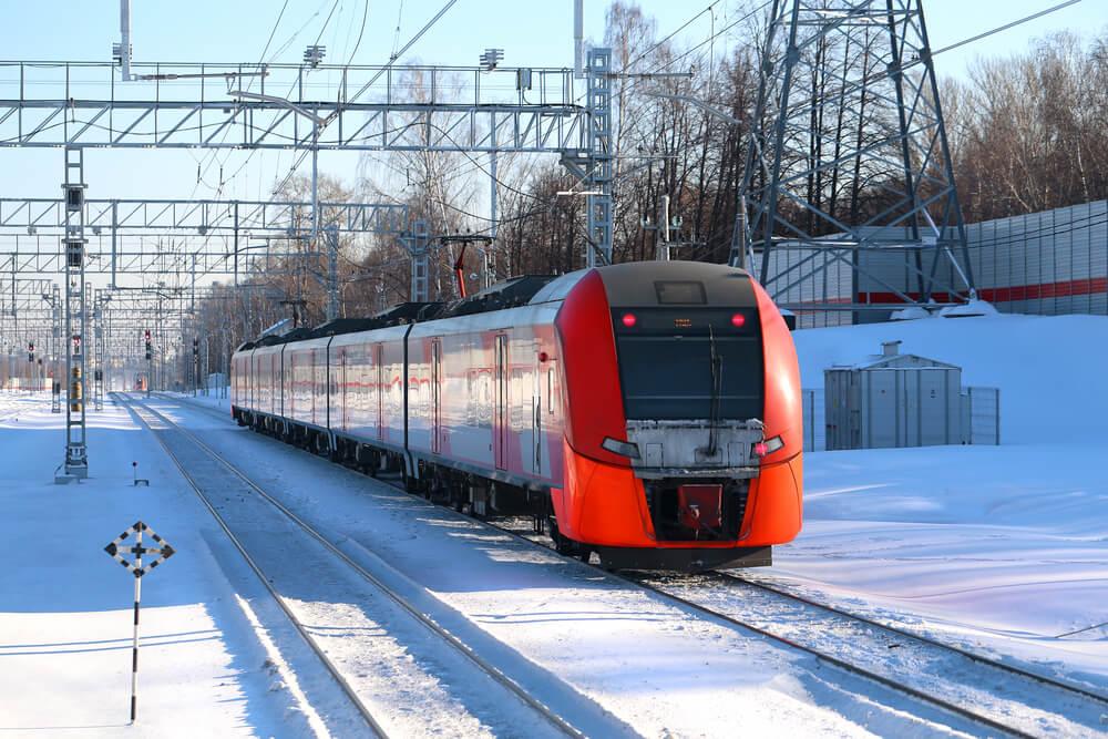 Train russe dans la neige