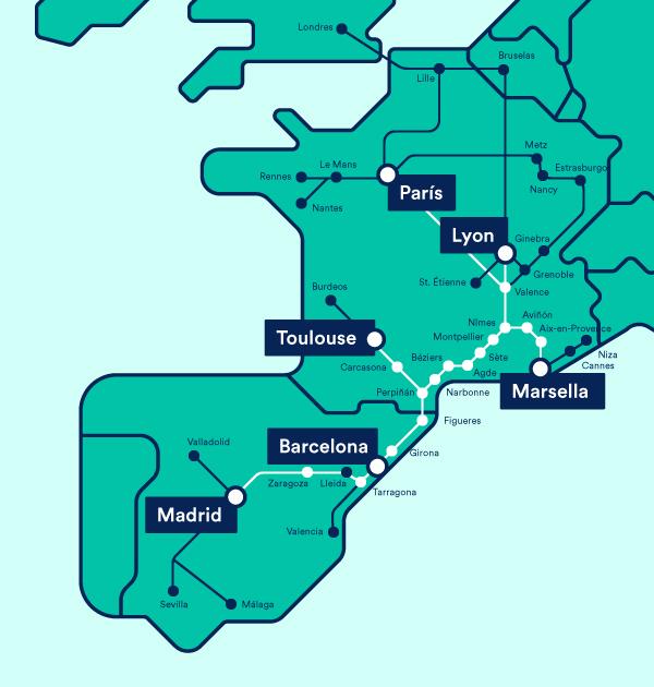 mapa rutas Renfe-SNCF