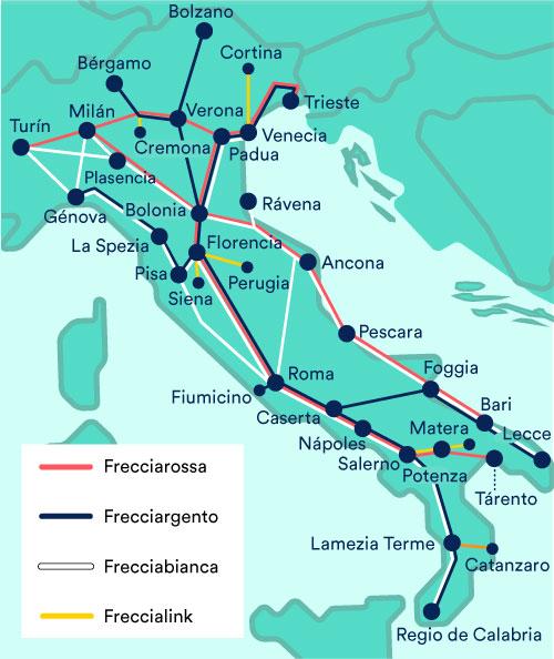 Trenes Italia Trenitalia Frecciarossa Frecciargento Frecciabianca Freccialink