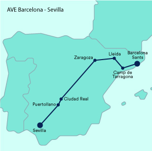 Mapa Recorrido Ave Barcelona Sevilla.Renfe Ave Ofertas Billetes De Tren Y Horarios Trainline