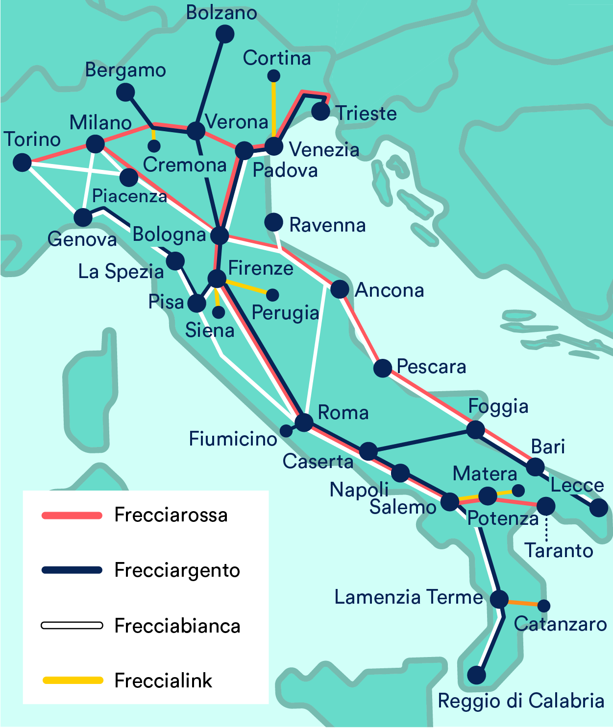Italy High Speed Trains Map