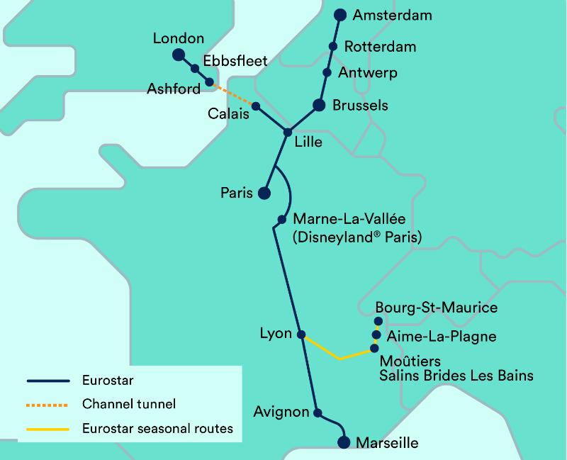 Carte des lignes Eurostar