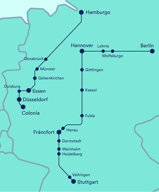Mapa de rutas de FlixTrain