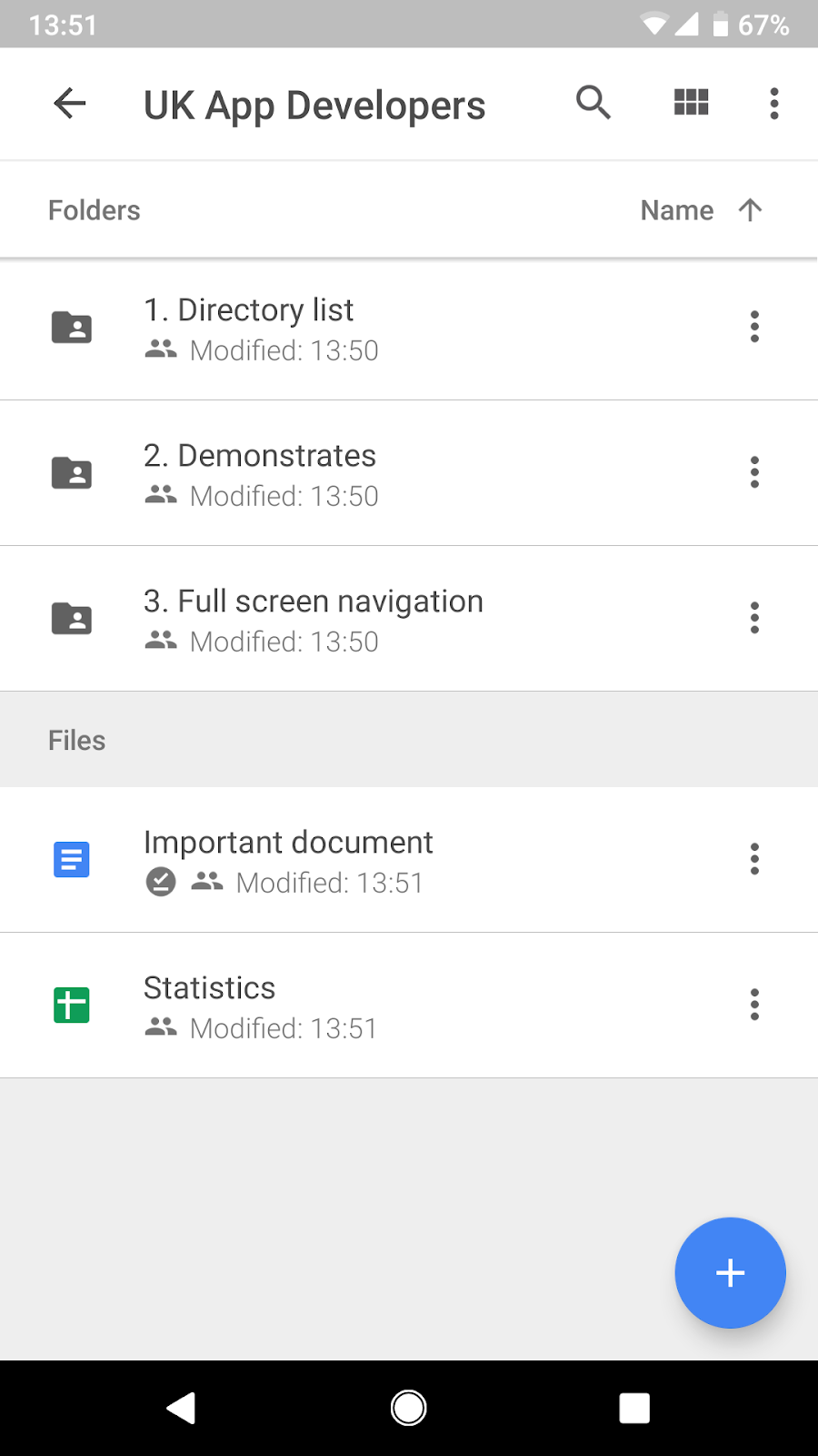 Google Drive Full-screen Navigation