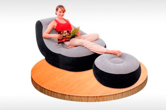sillón hinchable con reposapiés