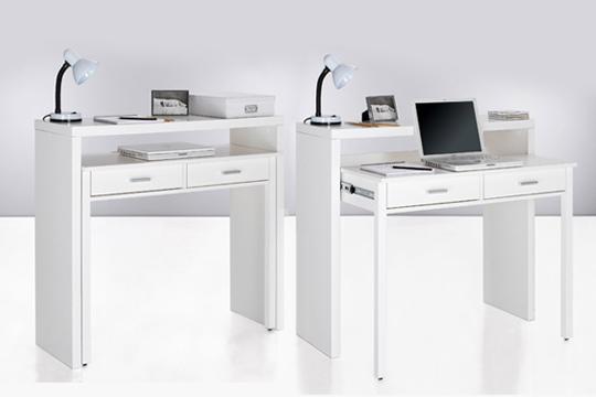 Muebles colectivia consola escritorio en color blanco for Escritorio moderno blanco