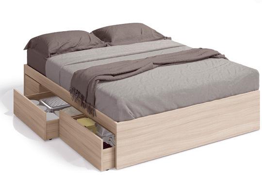 Muebles colectivia cama de matrimonio nature incluye 4 for Camas con almacenaje