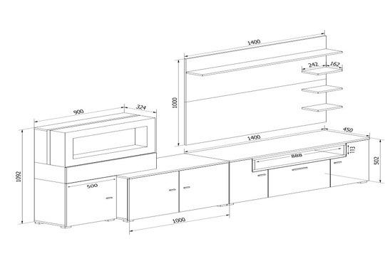 Muebles colectivia mueble de sal n olympo con chimenea - Muebles de salon con chimenea integrada ...