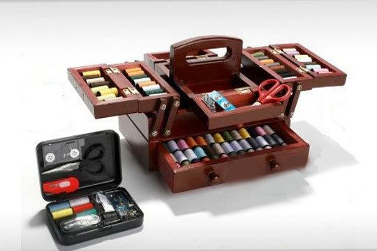 Productos colectivia pr ctico costurero de madera de 160 piezas kit costura de viaje - Set de costura ...