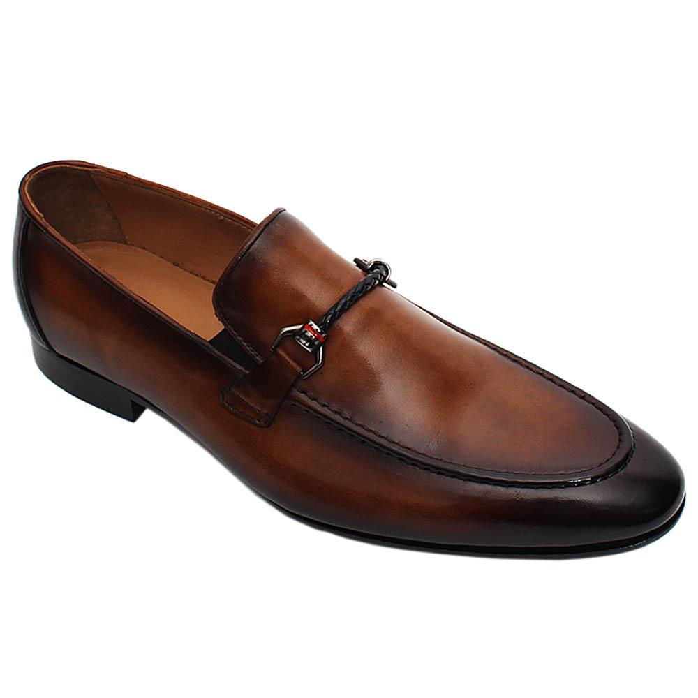 Brown Patrizio Italian Leather Men Horsebit Loafers