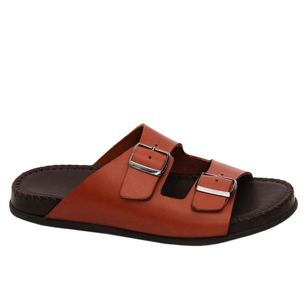 Brown Vincenzo Italian Leather Comfort Sole Slippers