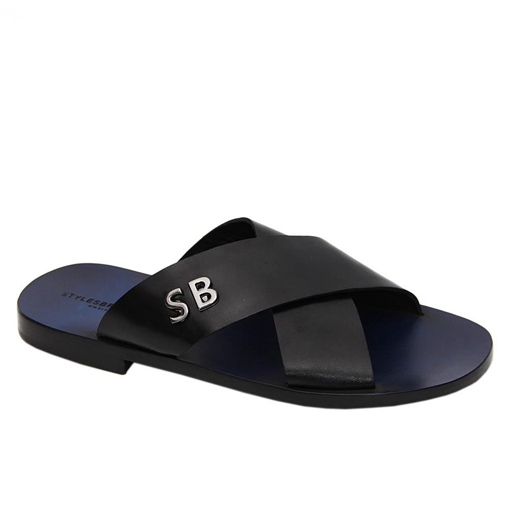 Black Riley Crossover Italian Leather Slippers