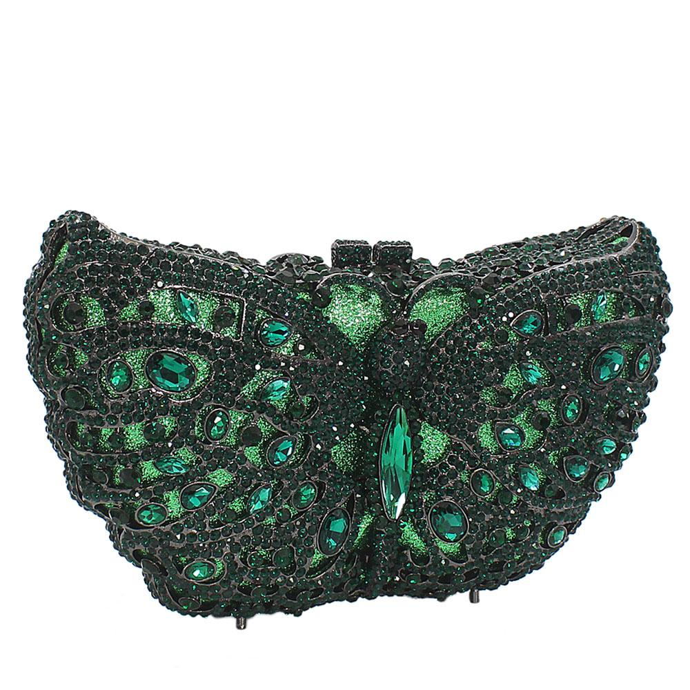 Green Butterfly Diamante Crystals Clutch Purse