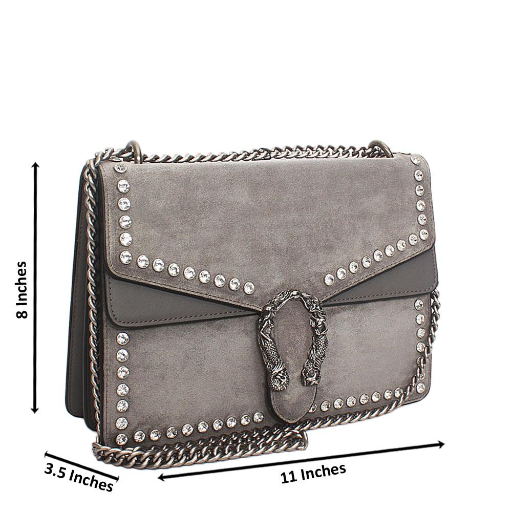 Gray Ice Suede Leather Crossbody Handbag