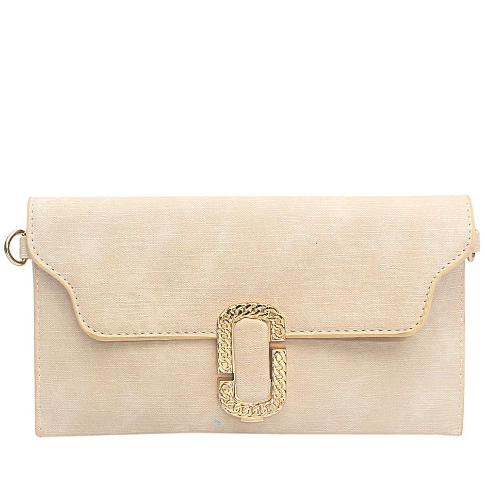 Cream Sylvia Leather Flat Purse