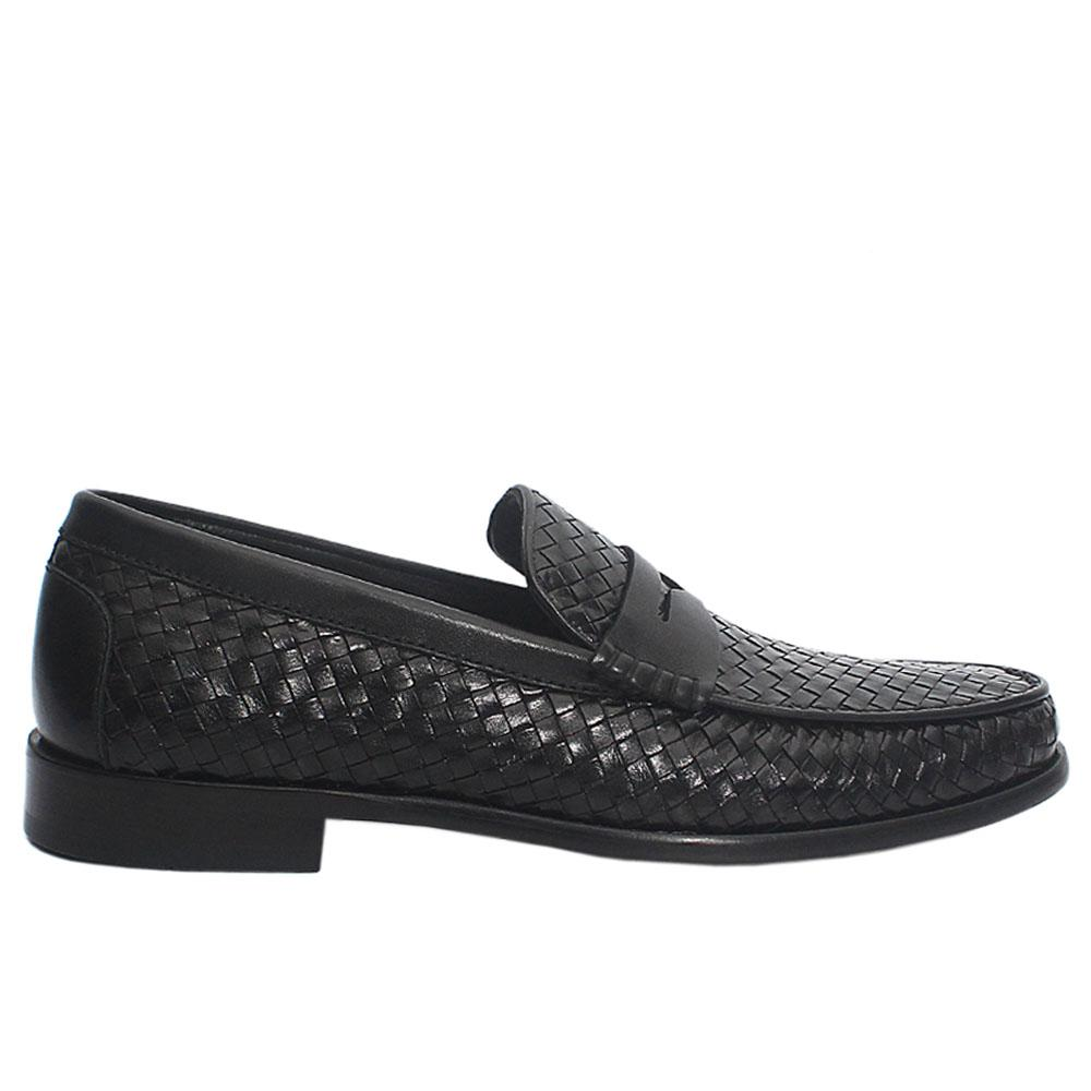Black Bernardo Woven Italian Leather Loafers