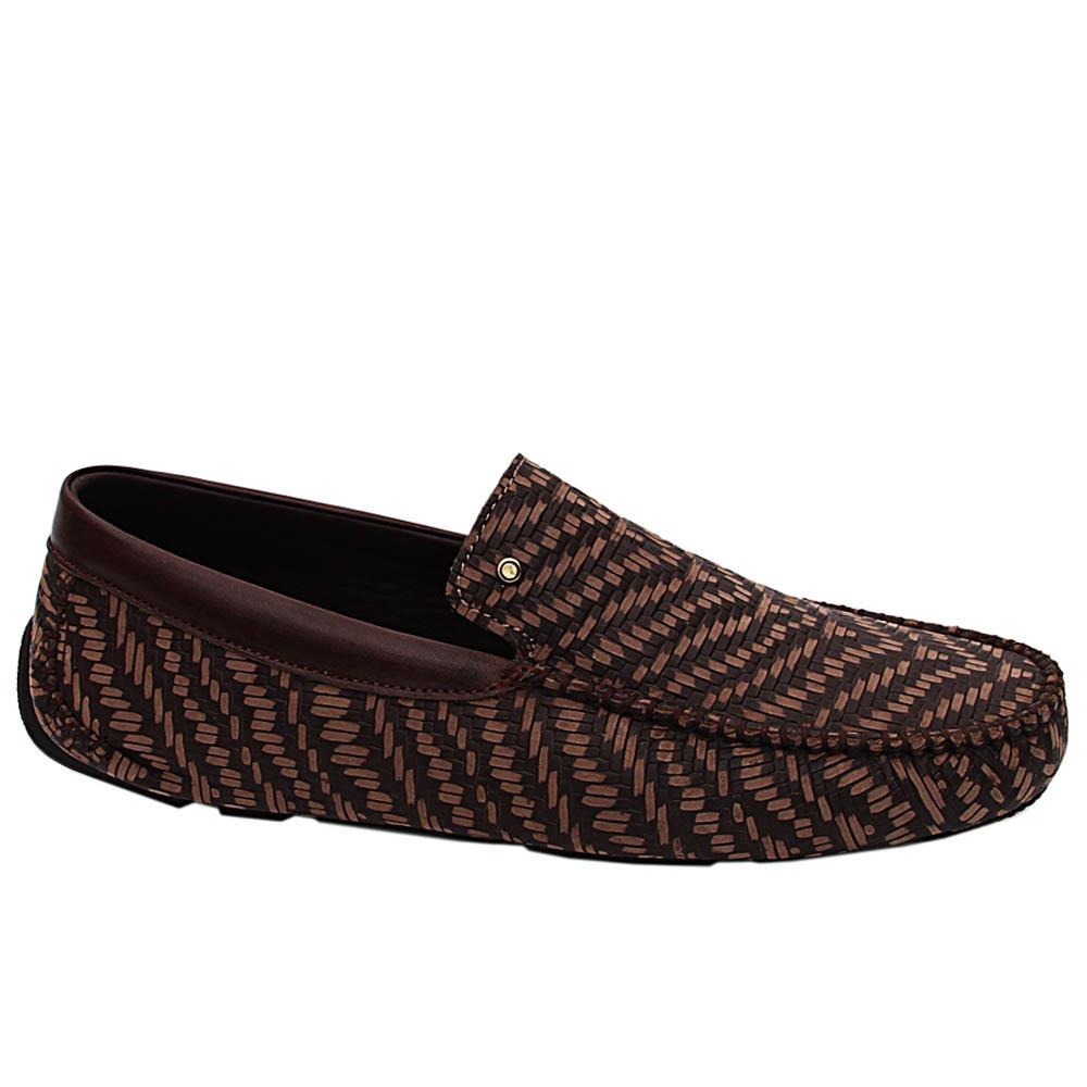 Brown Antik Woven Styled Italian Leather Drivers Shoes