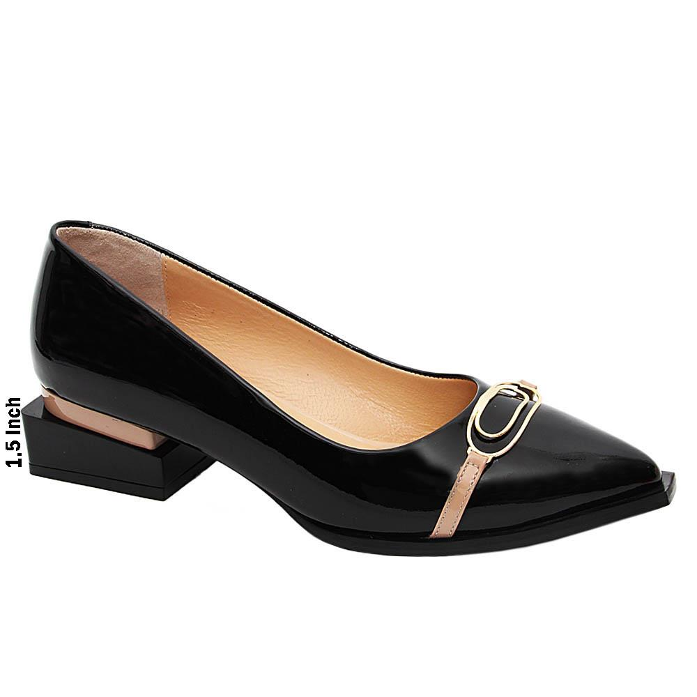 Black Jackie Ivy Patent Italian Leather Block Heel Pumps
