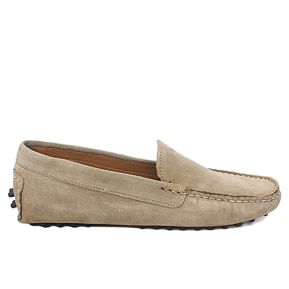Gray Aupe Suede Leather Ladies Flat Shoe