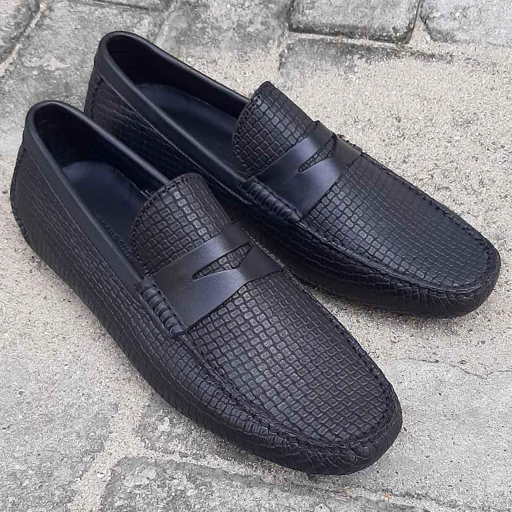 Black Ernesto Italian Leather Drivers Shoe