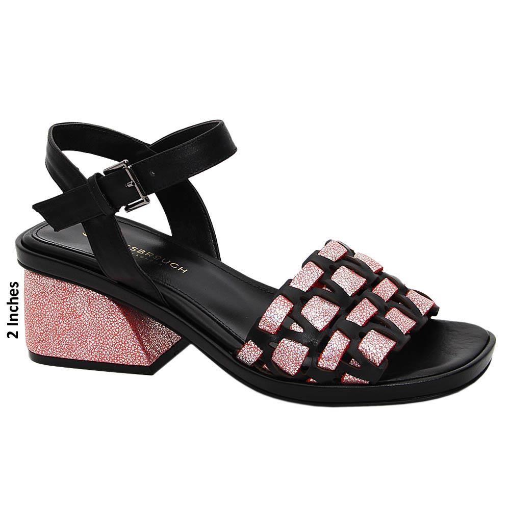 Pink Black Glitters Maya Tuscany Leather Mid Heel Sandals