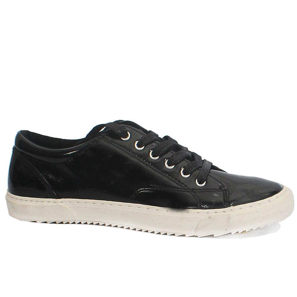 M&S Black Patent Leather Ladies Sneakers