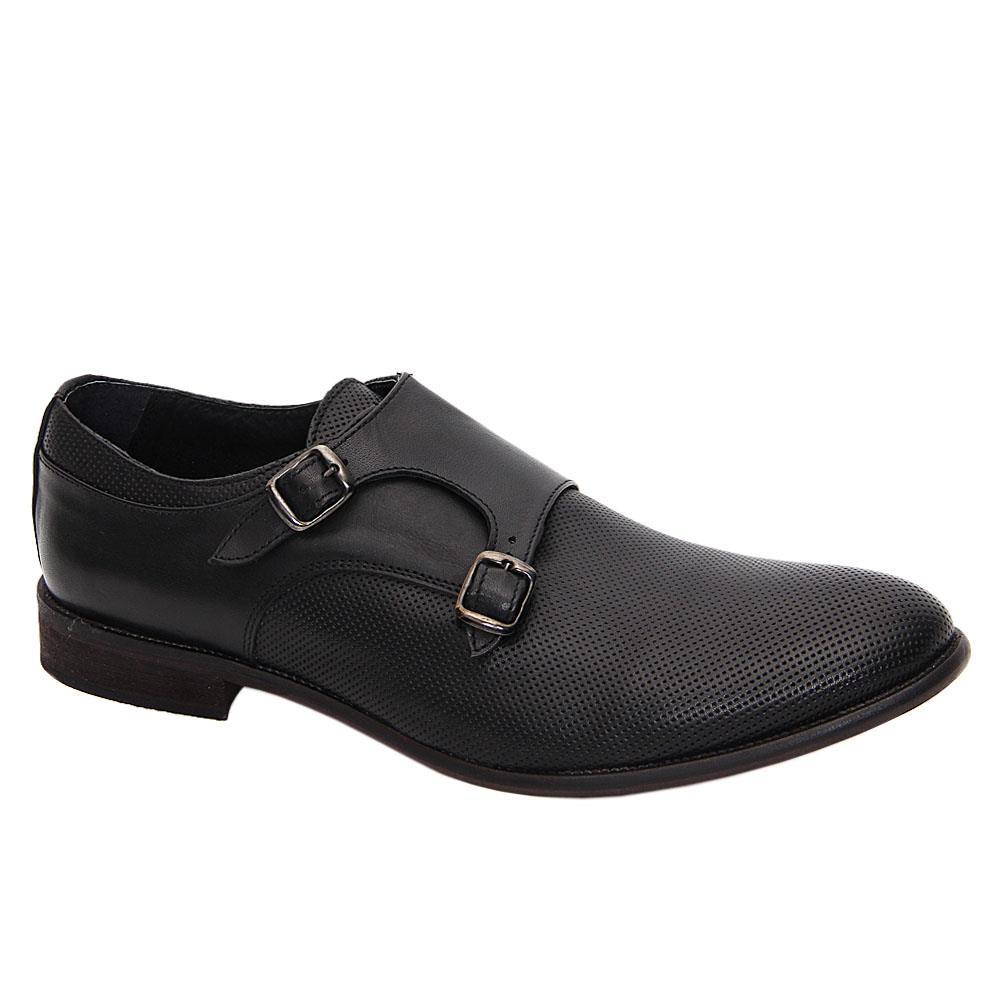 Black Celso Italia Leather Men Monk Strap Shoes
