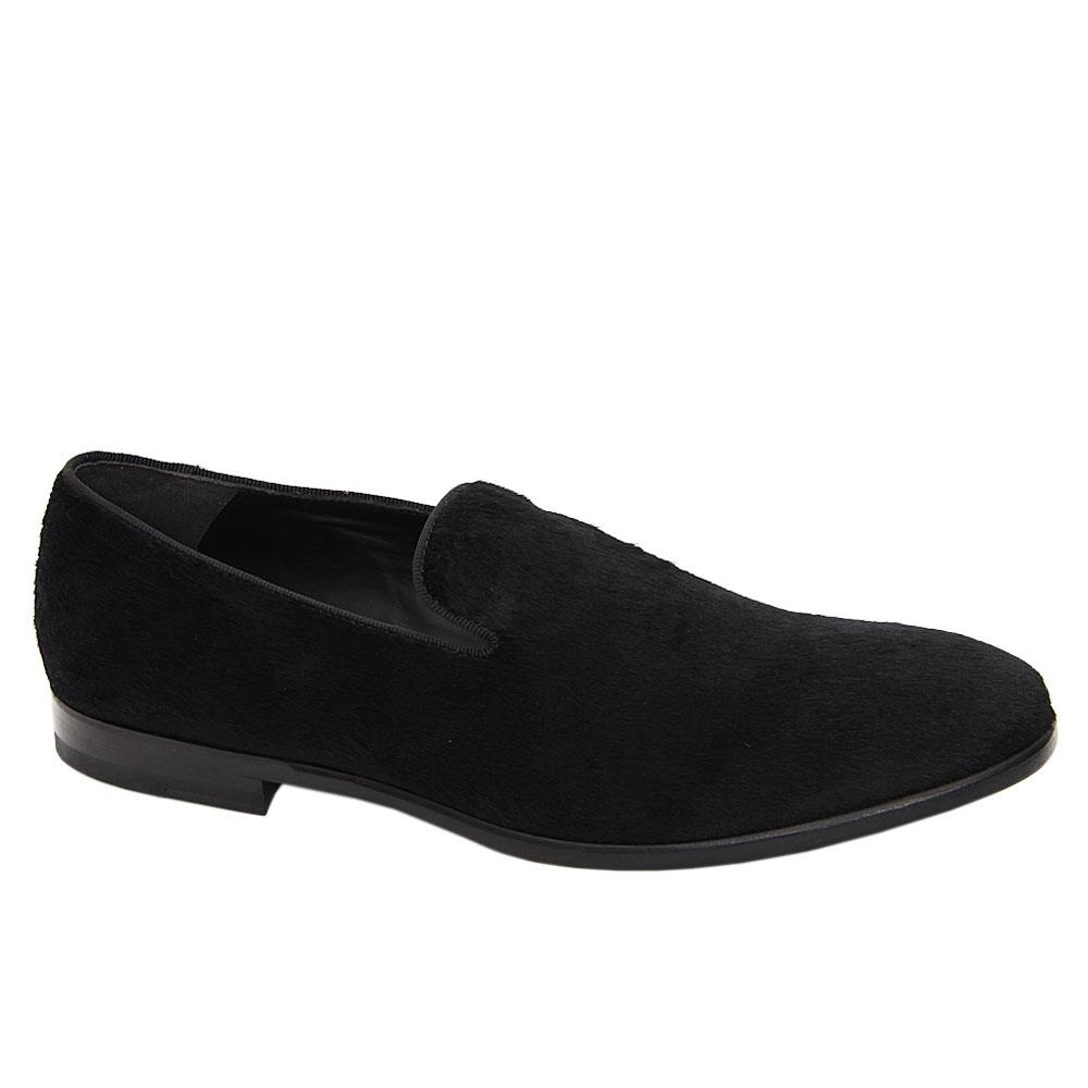 Black Floyd Horse Hair Leather Loafers