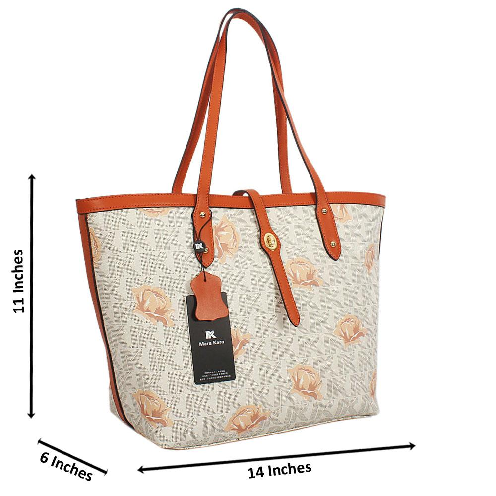Cream Brown Flora Print Leather Long Strap Shoulder Handbag