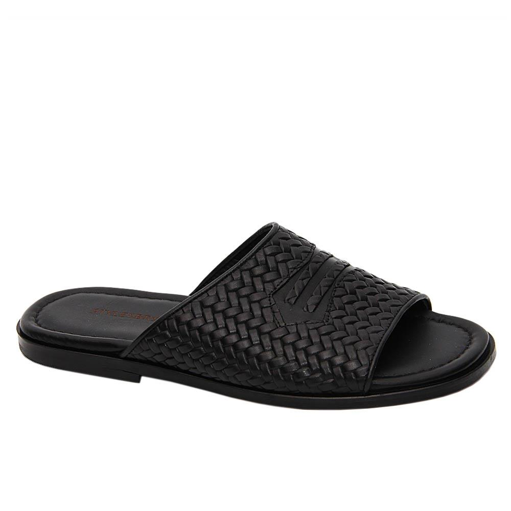 Black Giotto Woven Styled Italian Leather Slippers