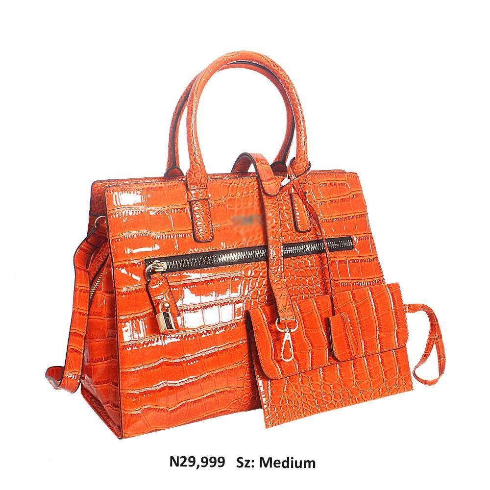 Orange Myra Croc Patent Leather Tote Handbag