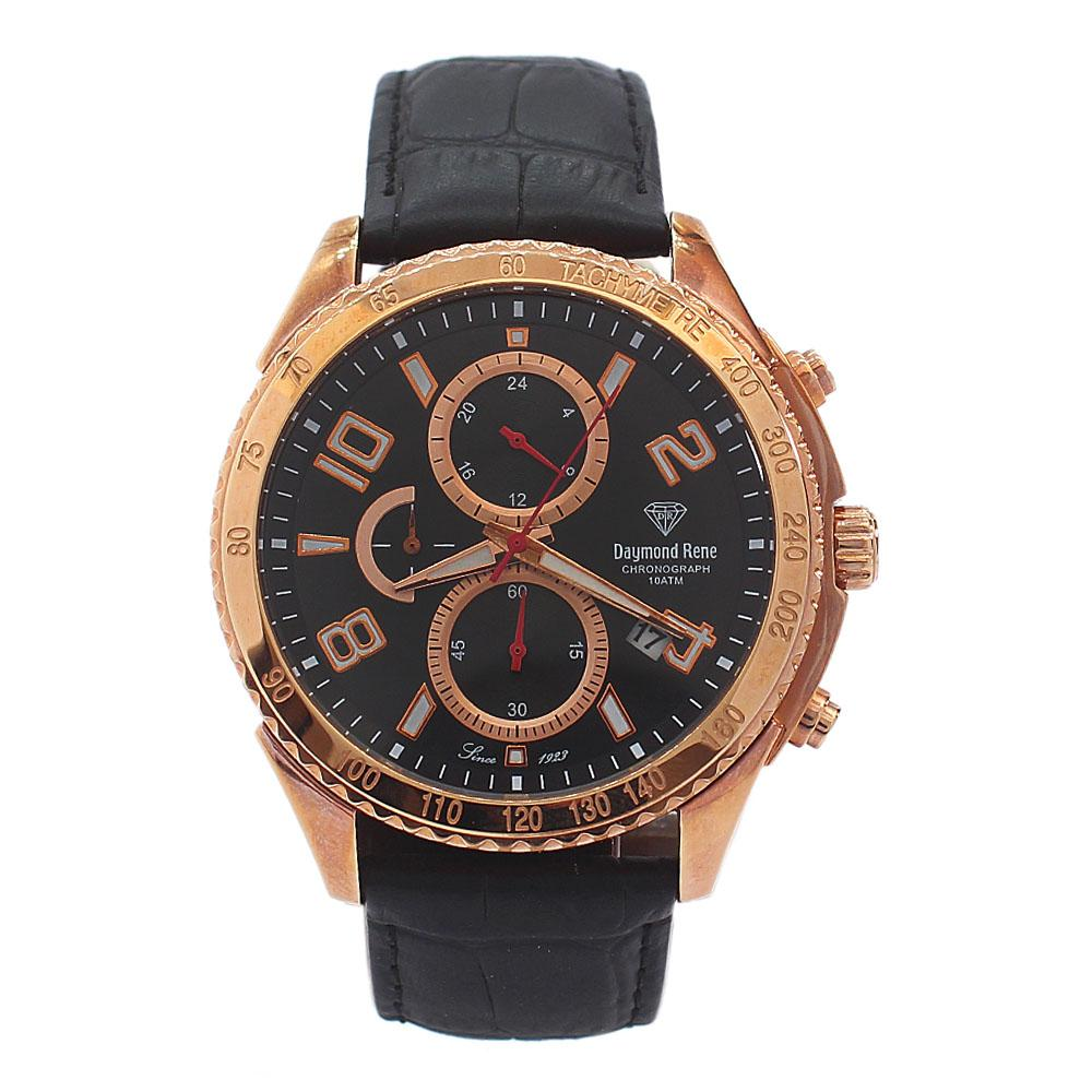 DR 10ATM Gold Black Leather Chronograph Watch