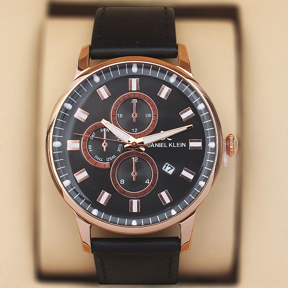 Daniel Klein Aticcus Black Gold Steel Leather Pilot Series Watch