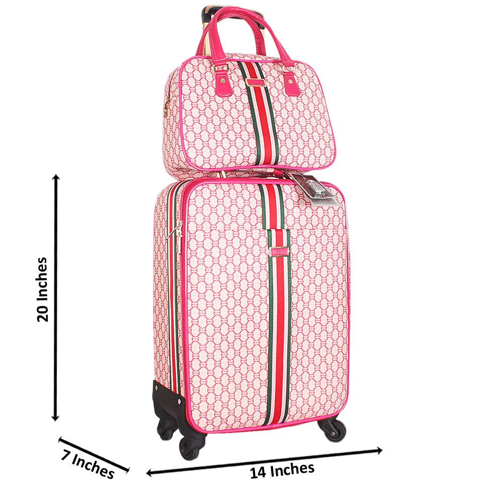 Pink 20 Inch Leather 2 in 1 Carry On Luggage Wt Lock