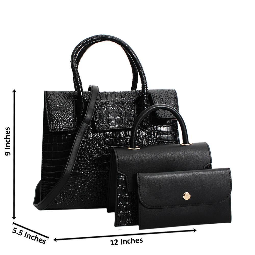 Black Ellena Croc Leather Medium 3 in 1 Tote Handbag