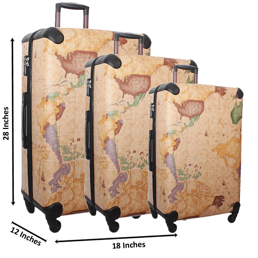 Cream 28 Wt 24 and 20 Inch 3 in 1 World Map Leather Luggage Set Wt TSA Lock