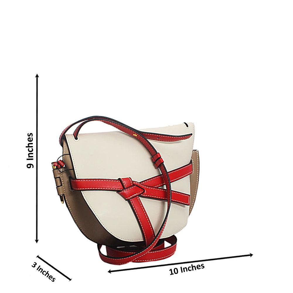 White Beige Pisa Cow Leather Saddle Handbag