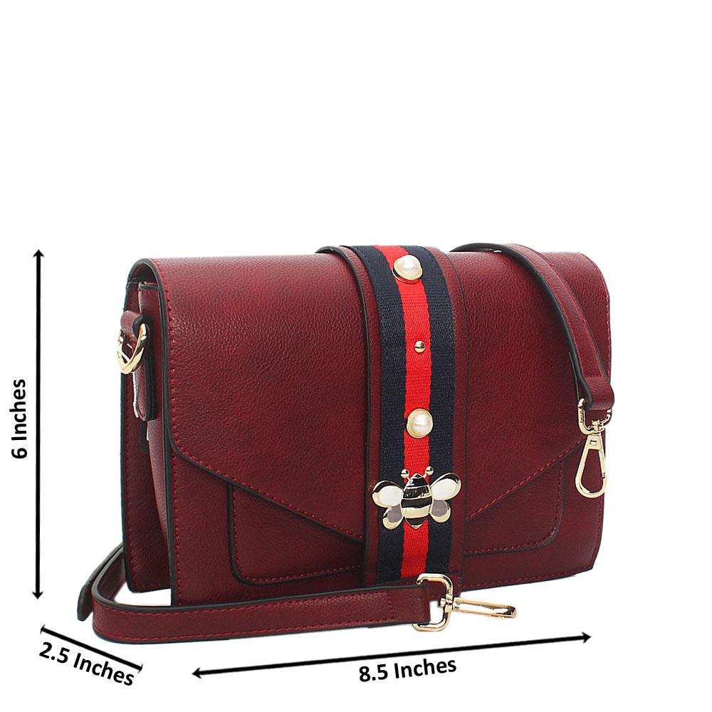 Wine Scarlett Leather Crossbody Handbag