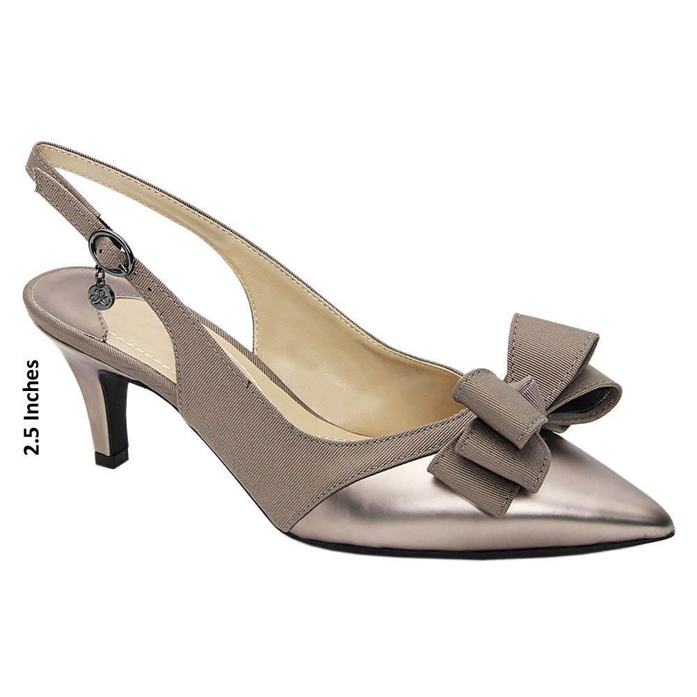 Gray Jeda Fabric Leather Mid Heel Slingback Pumps