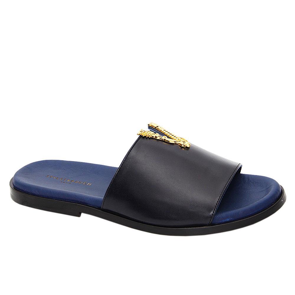 Dark Navy Vinco Italian Leather Slippers
