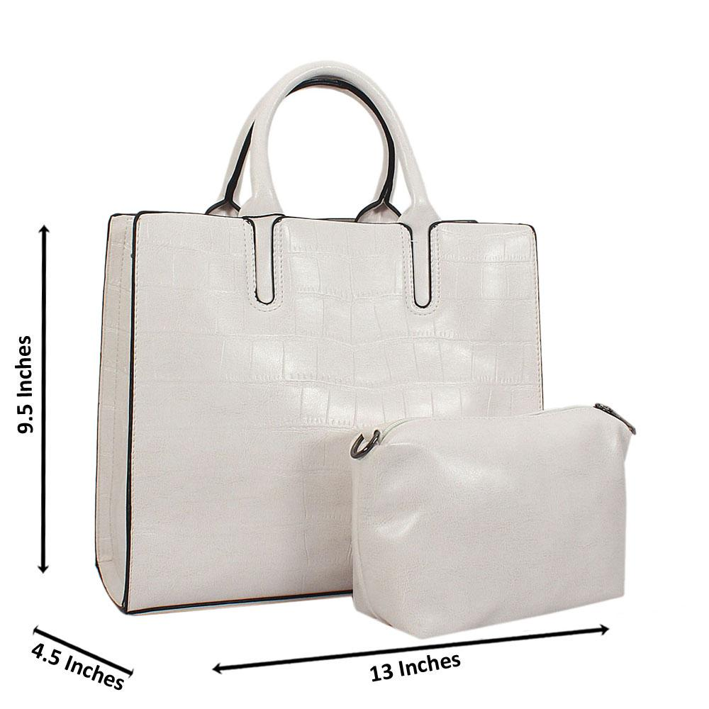 White Alice Croc Leather Tote Handbag