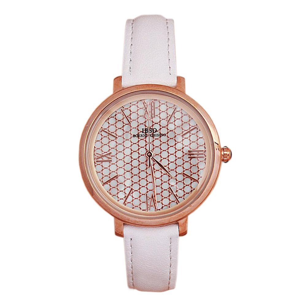 Vintage White Leather Slim Ladies Watch