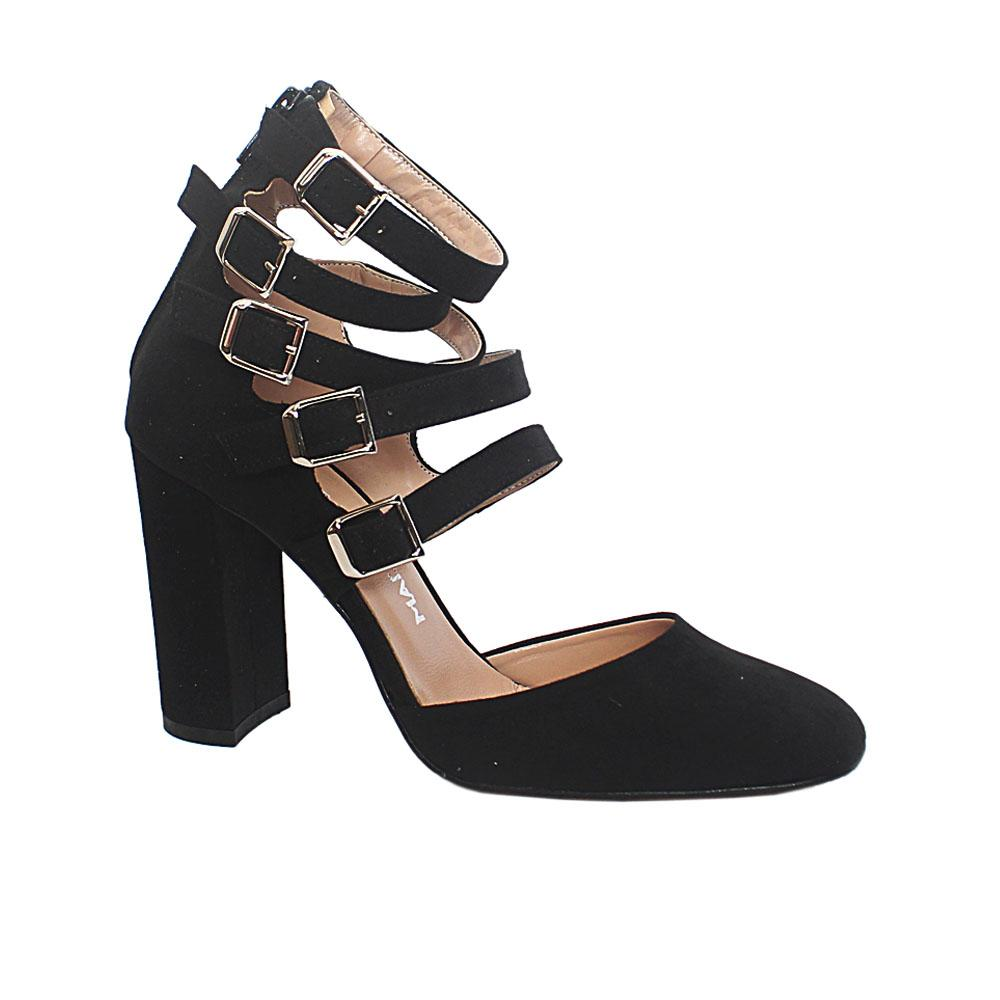 Black Natasha Suede Leather Block Heel Ankle Strap Shoes
