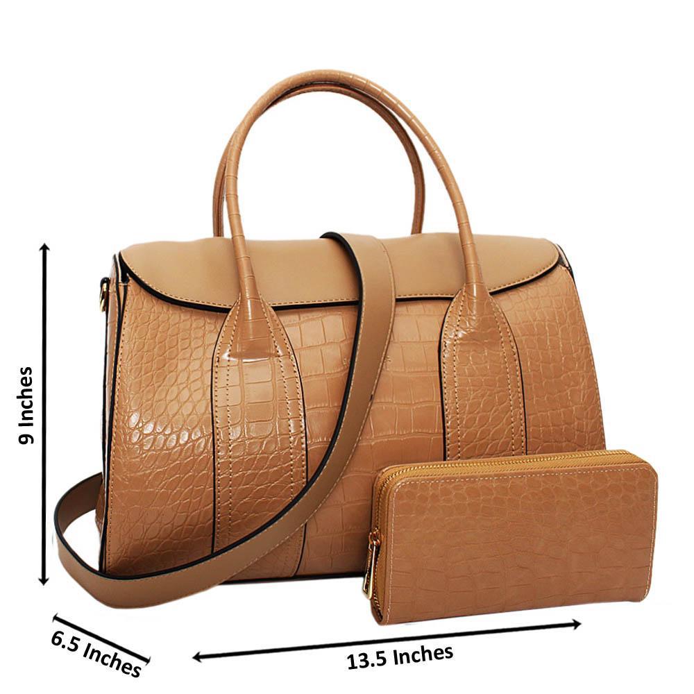 Beige Amelia Croc Leather Medium Tote Handbag