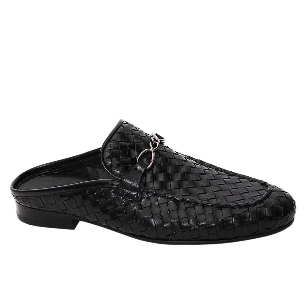 Black Arins Woven Italian Leather Half Shoe
