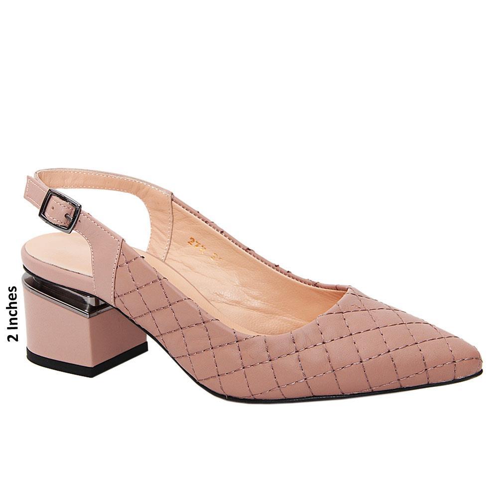 Burnt Pink Michaela Threaded Tuscany Leather Mid Heel Slingback Pumps