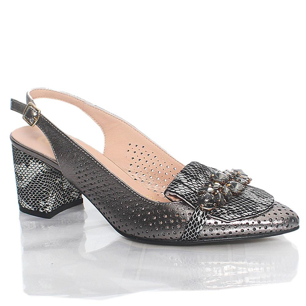 Metallic Gray Ashford Crystals Italian Leather Slingback Shoe