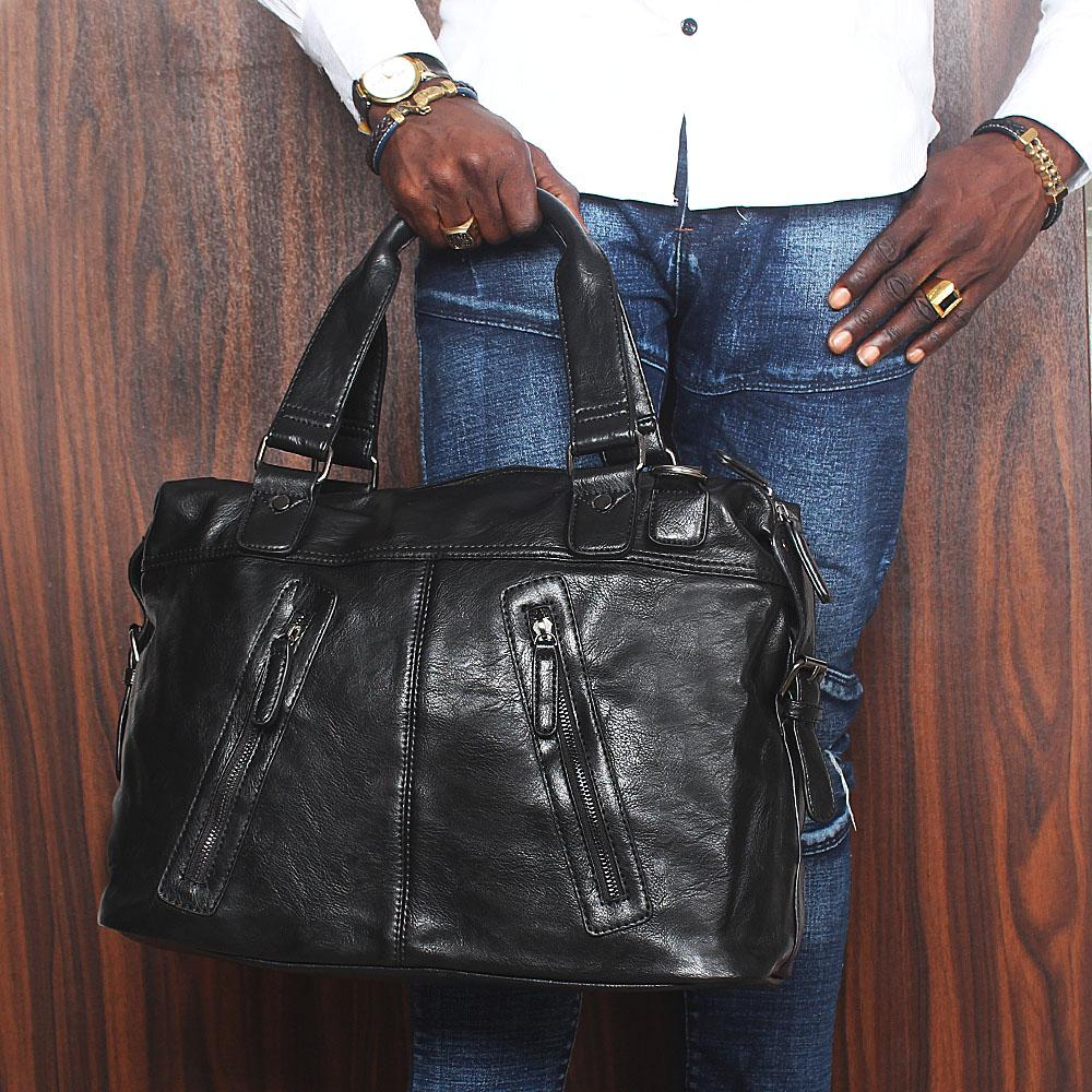 Saint Black Zip Styled Cassania Leather Man Bag